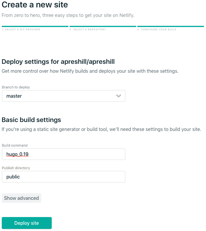 Screenshot above: Basic build settings in Netlify