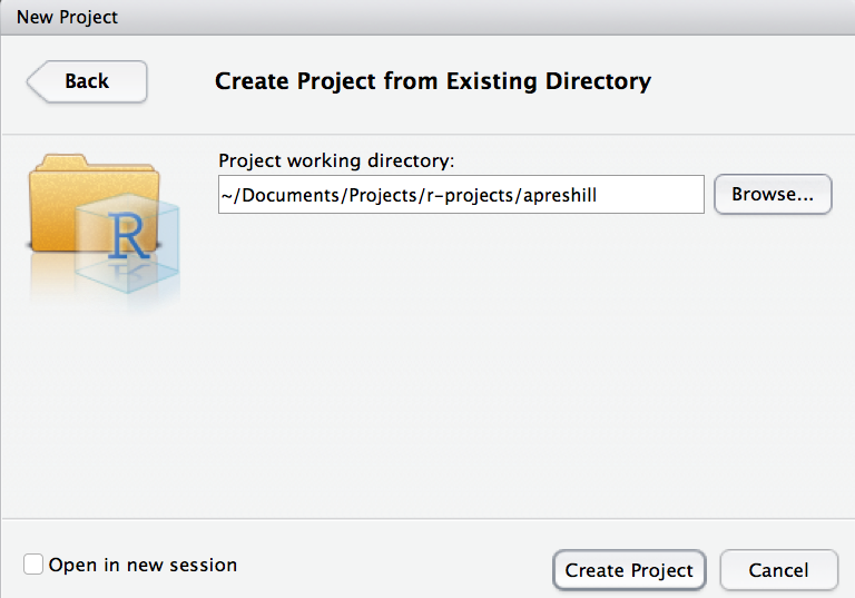 Screenshot above: Creating a new project in an existing directory in RStudio